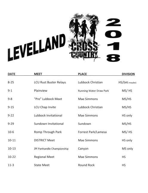 Levelland Cross County Schedule 2018